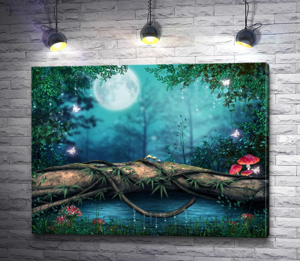 """Картина """"Мухоморы в лесу"""""""
