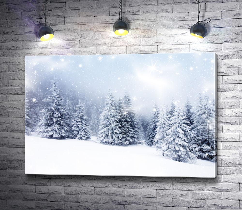 """Картина """"Холодный зимний лес"""""""