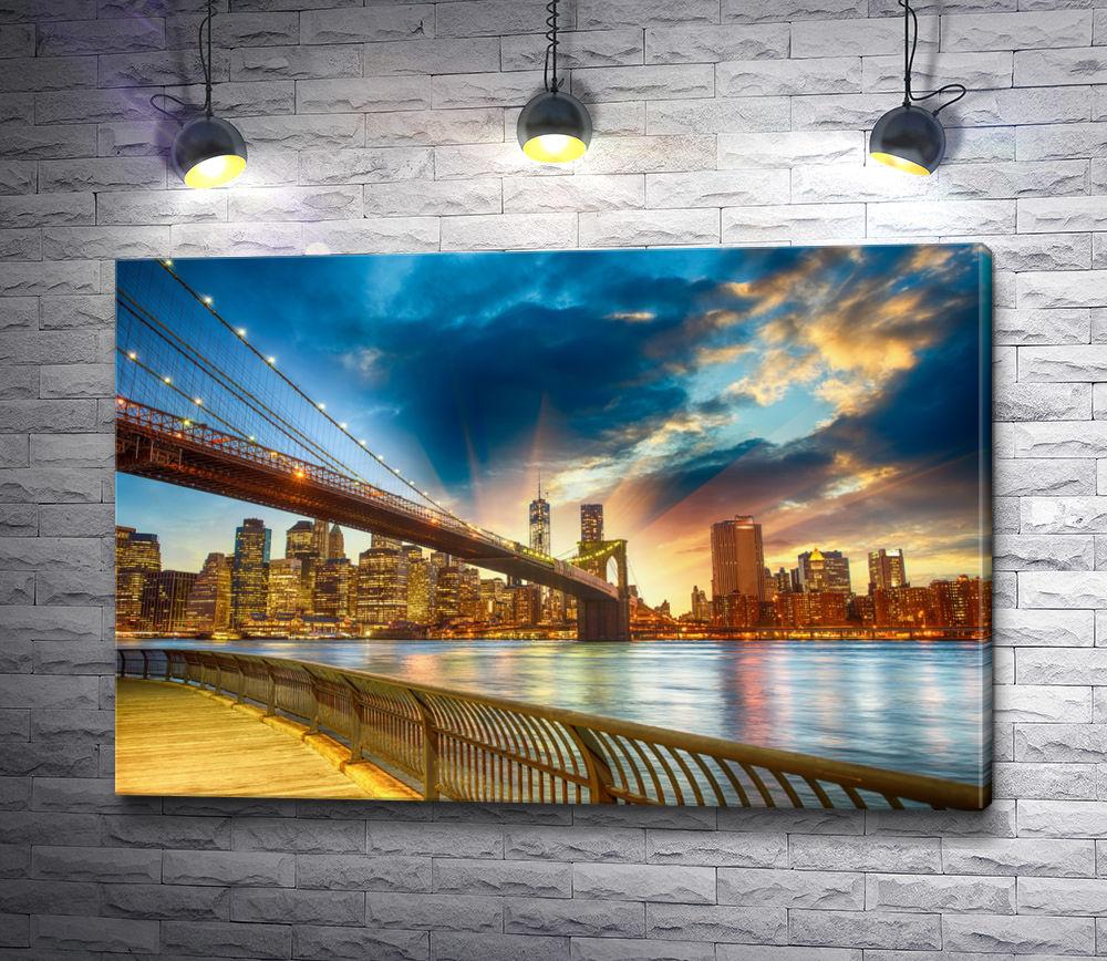 "Картина ""Мост и город Нью-Йорк"""