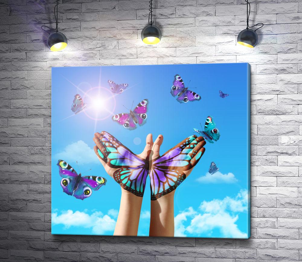 "Картина ""Бабочка в руках"""