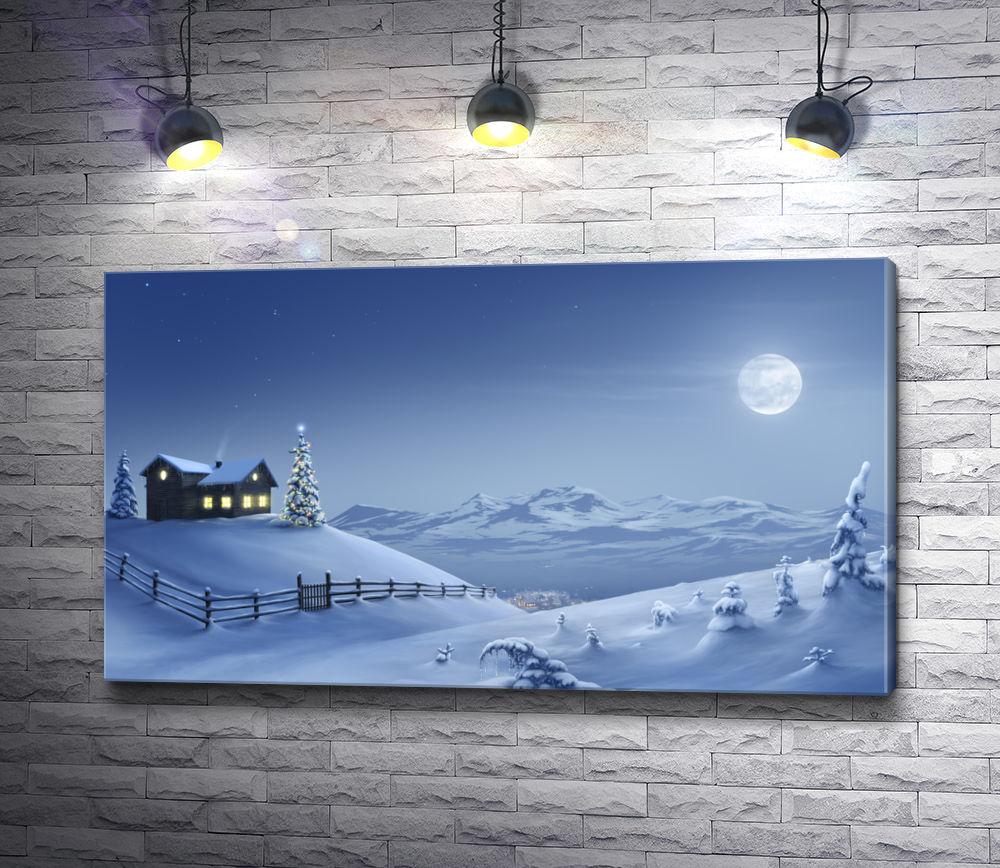"""Картина """"Полнолуние и горы"""""""
