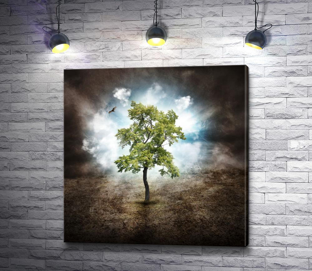 """Картина """"Одинокое дерево и птица"""""""