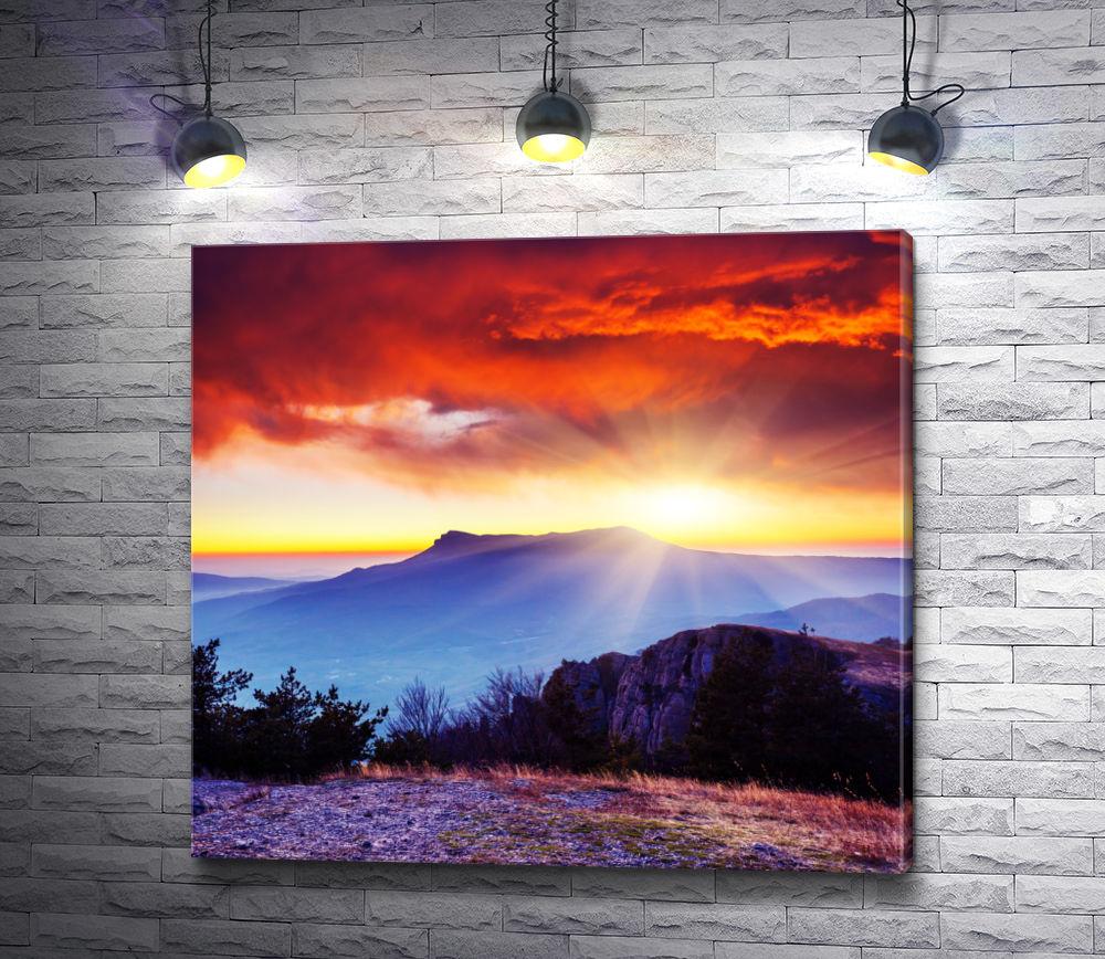"Картина ""Красное небо в горах"""