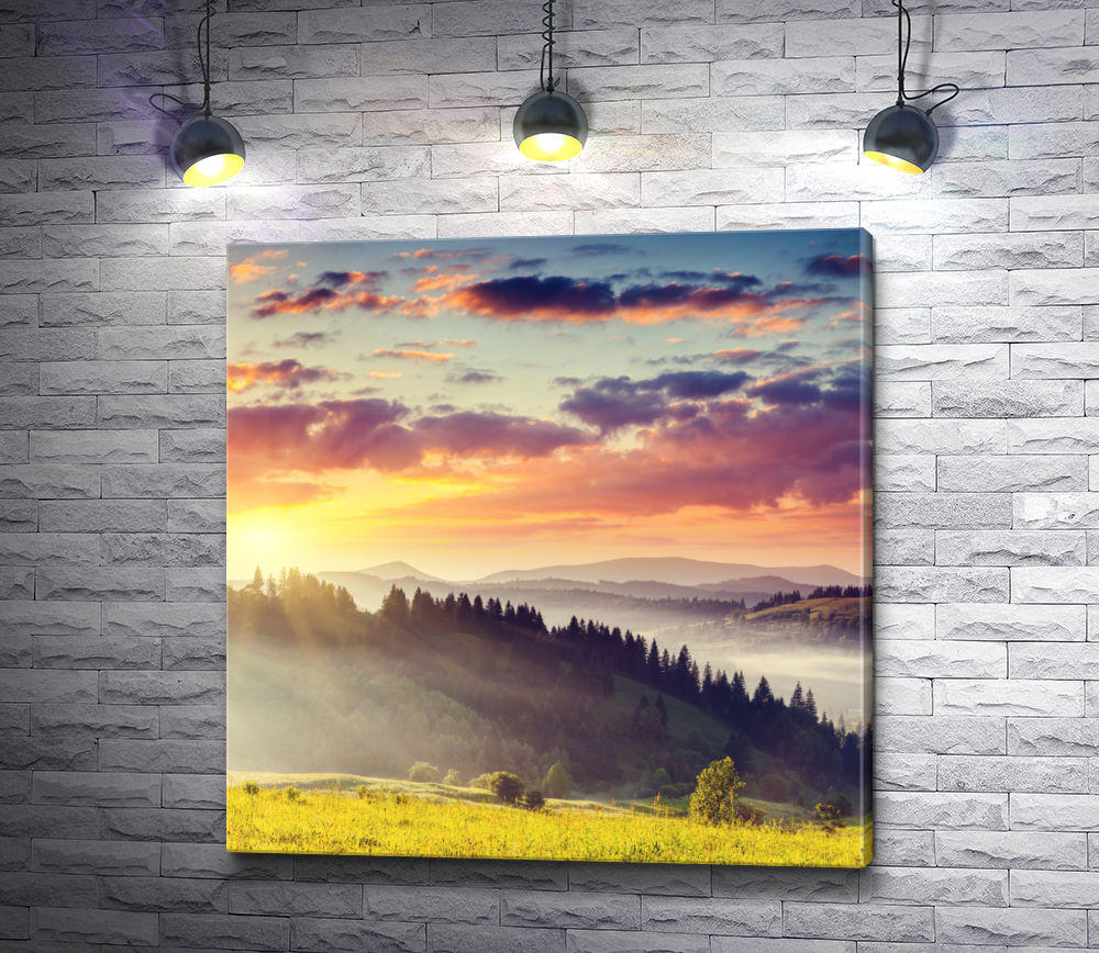 """Картина """"Гора и лучики солнца """""""