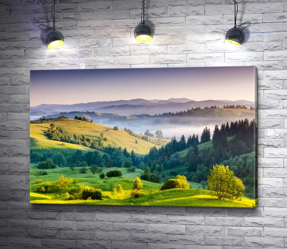 """Картина """"Утренний туман в зеленой долине"""""""