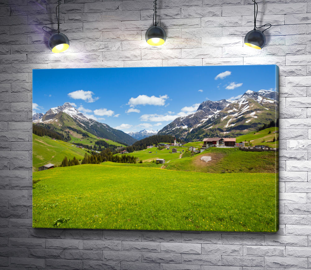 """Картина """"Деревня в горах"""""""