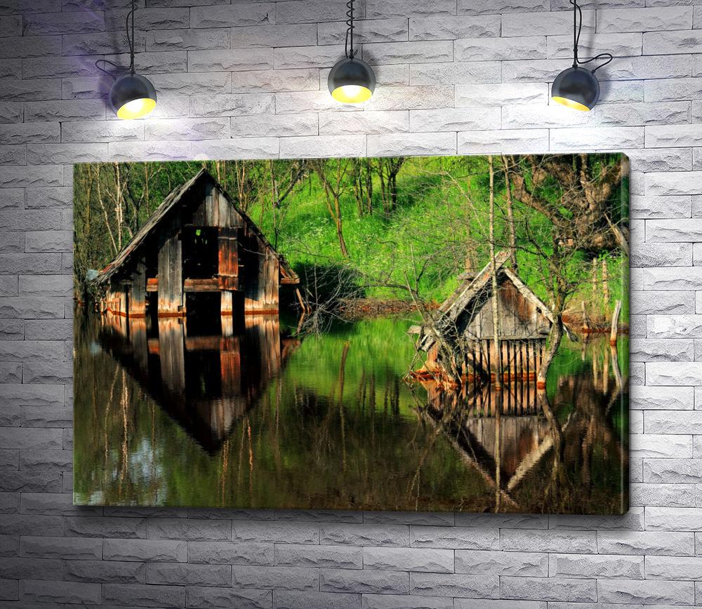 """Картина """"Домик на реке"""""""