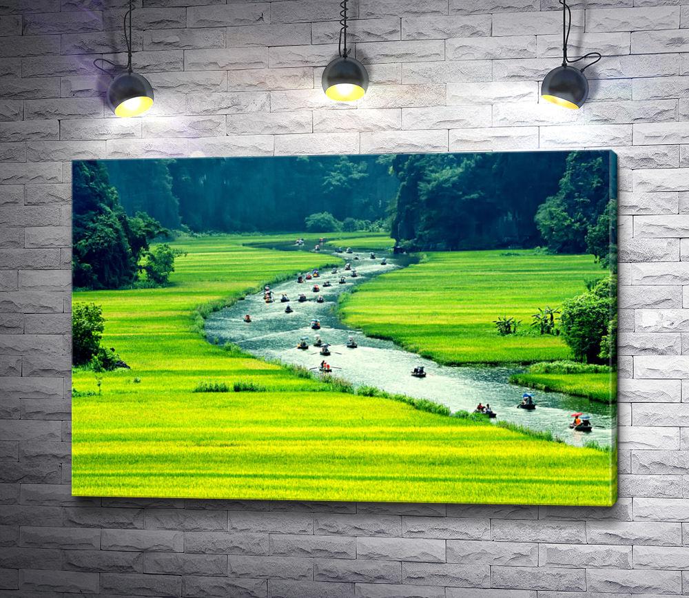 "Картина ""Лодки на реке"""