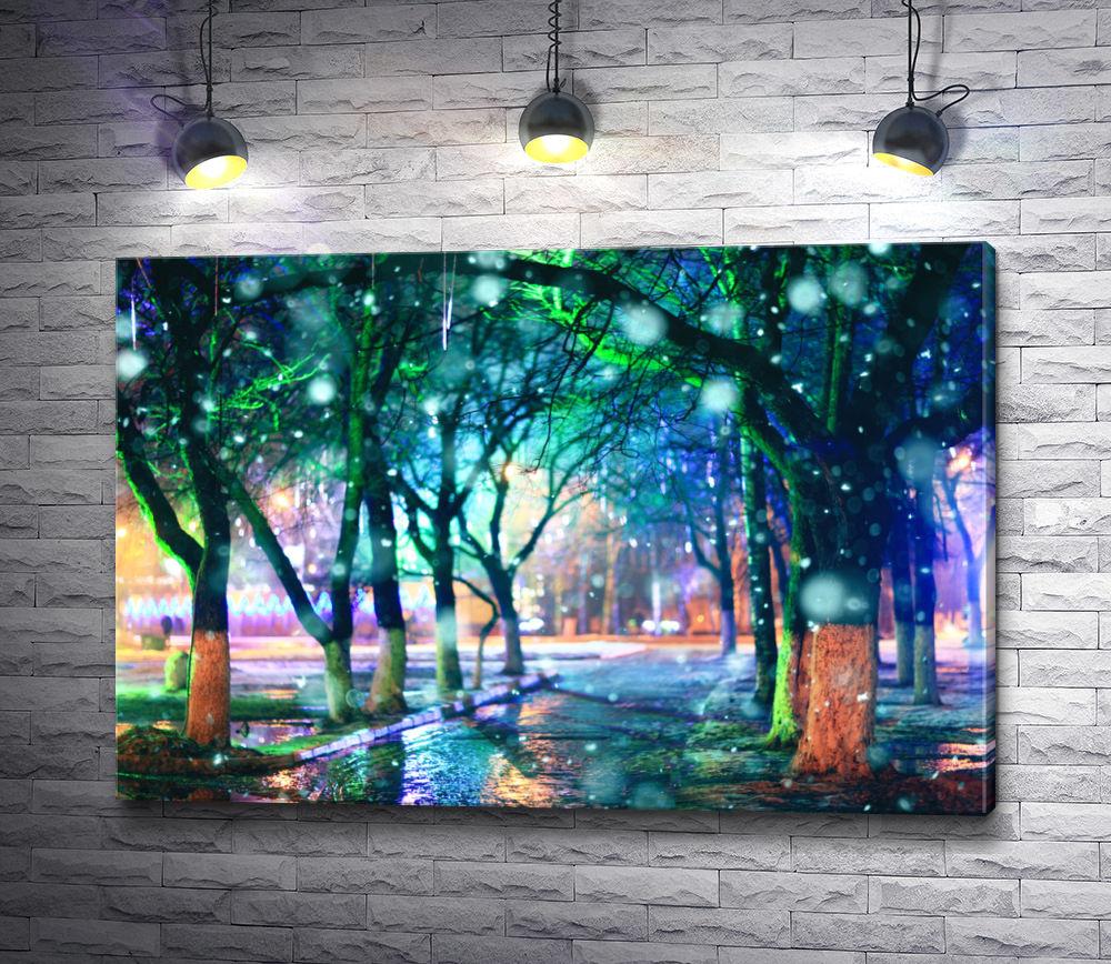 """Картина """"Красочный ночной дождь"""""""