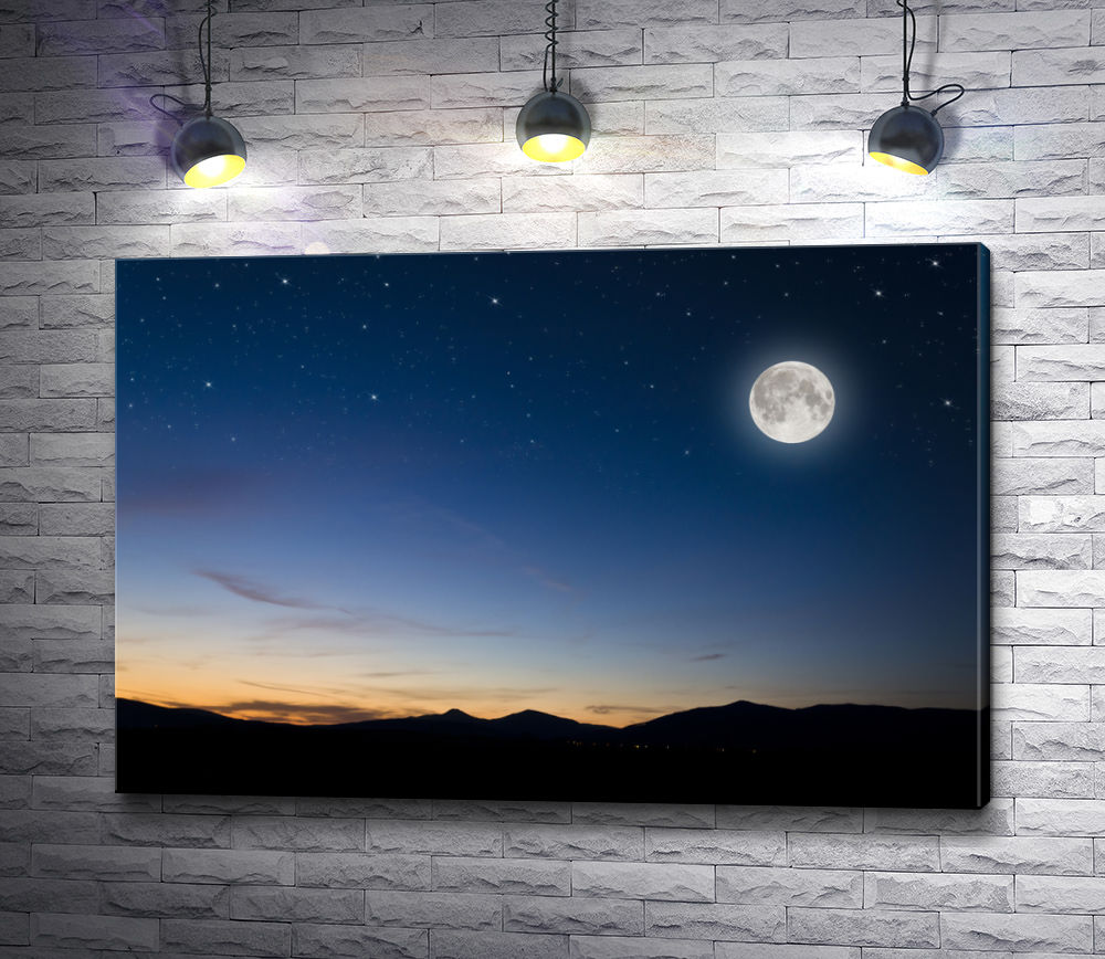 "Картина ""Полная луна над горами"""