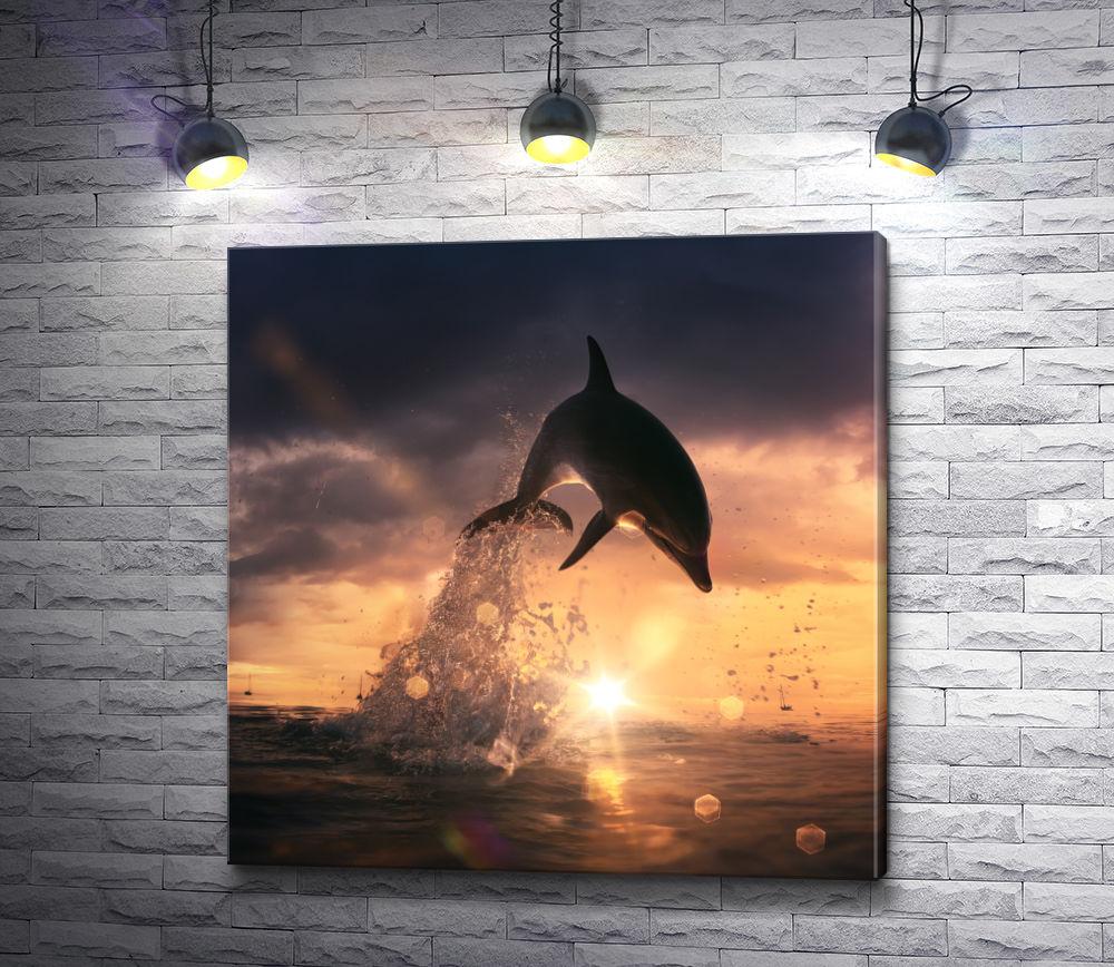 """Картина """"Дельфин на закате"""""""