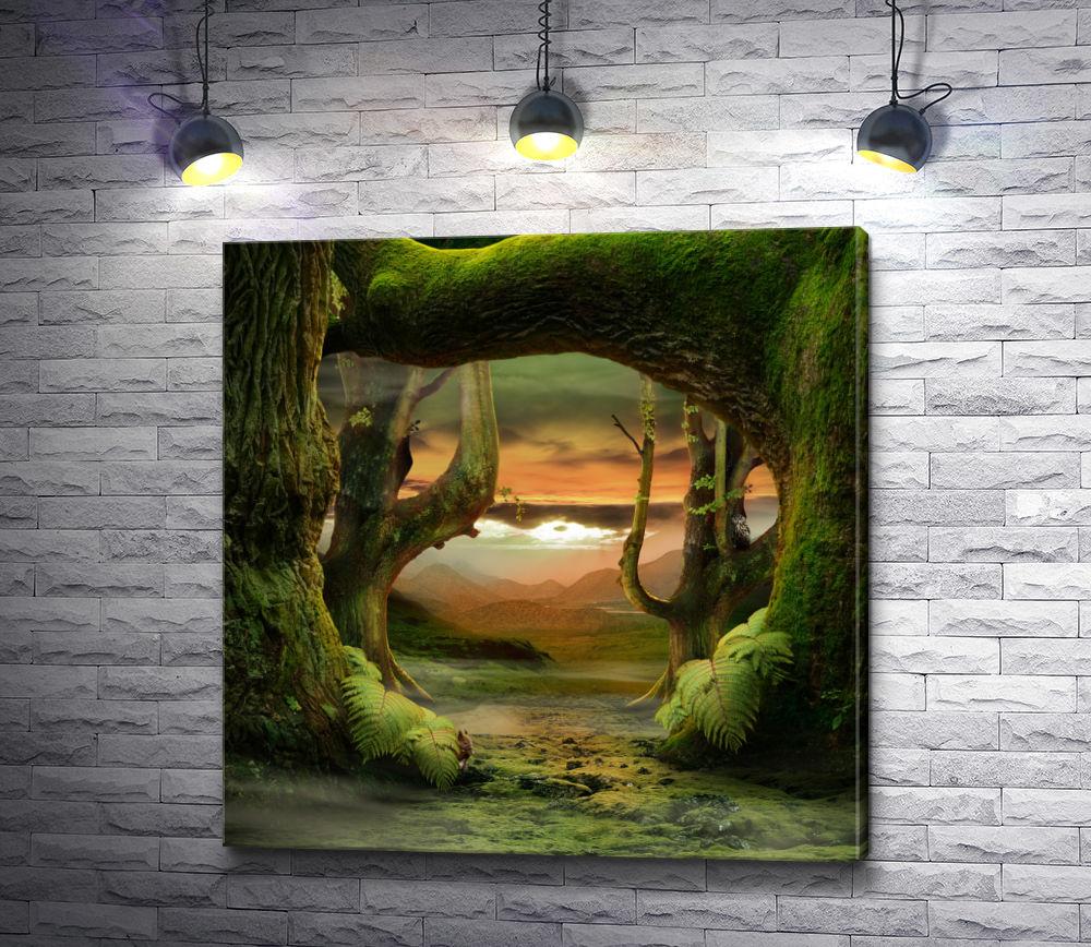 """Картина """"Зеленые деревья на фоне гор"""""""