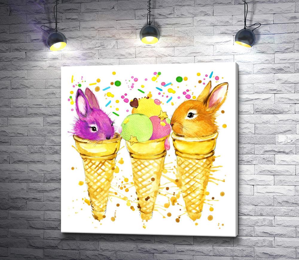 "Картина ""Зайчики и мороженое """