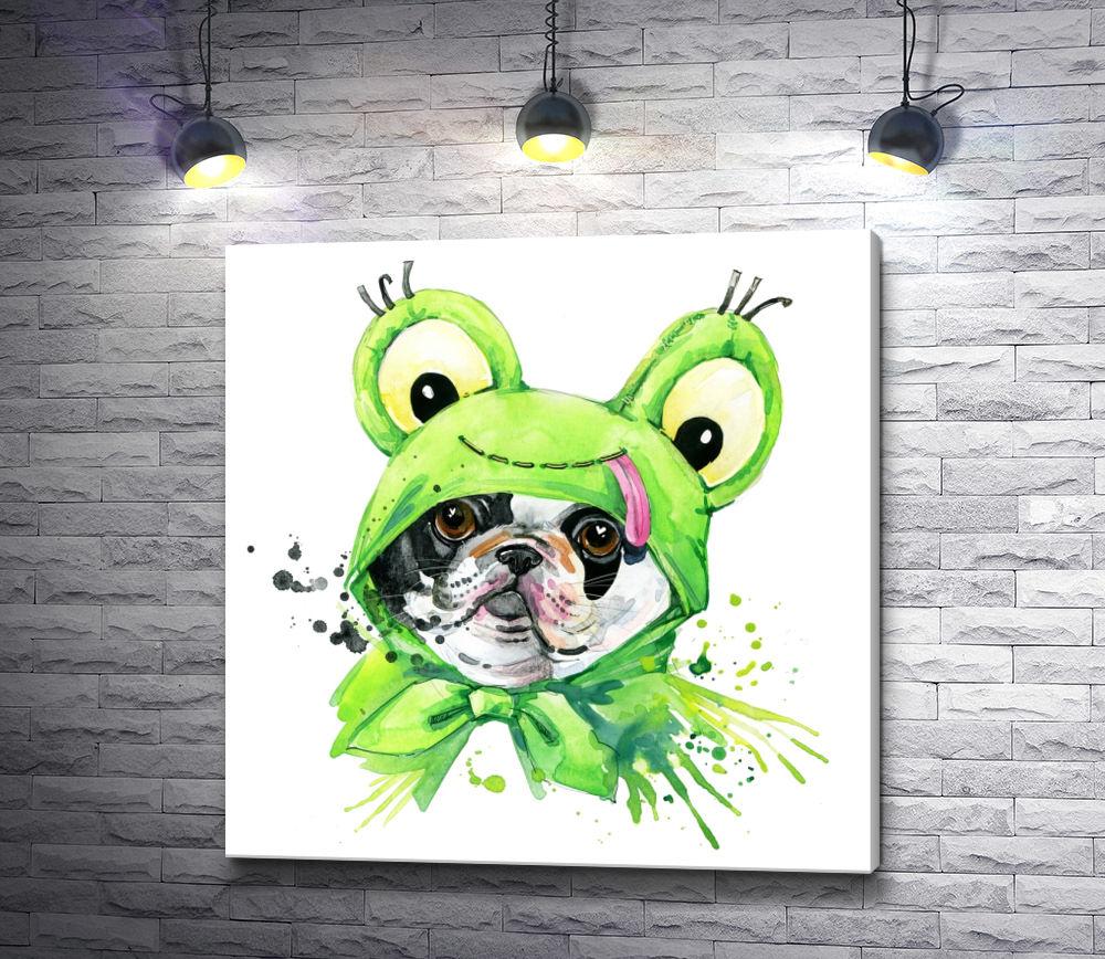 """Картина """"Собачка в костюме лягушки"""""""