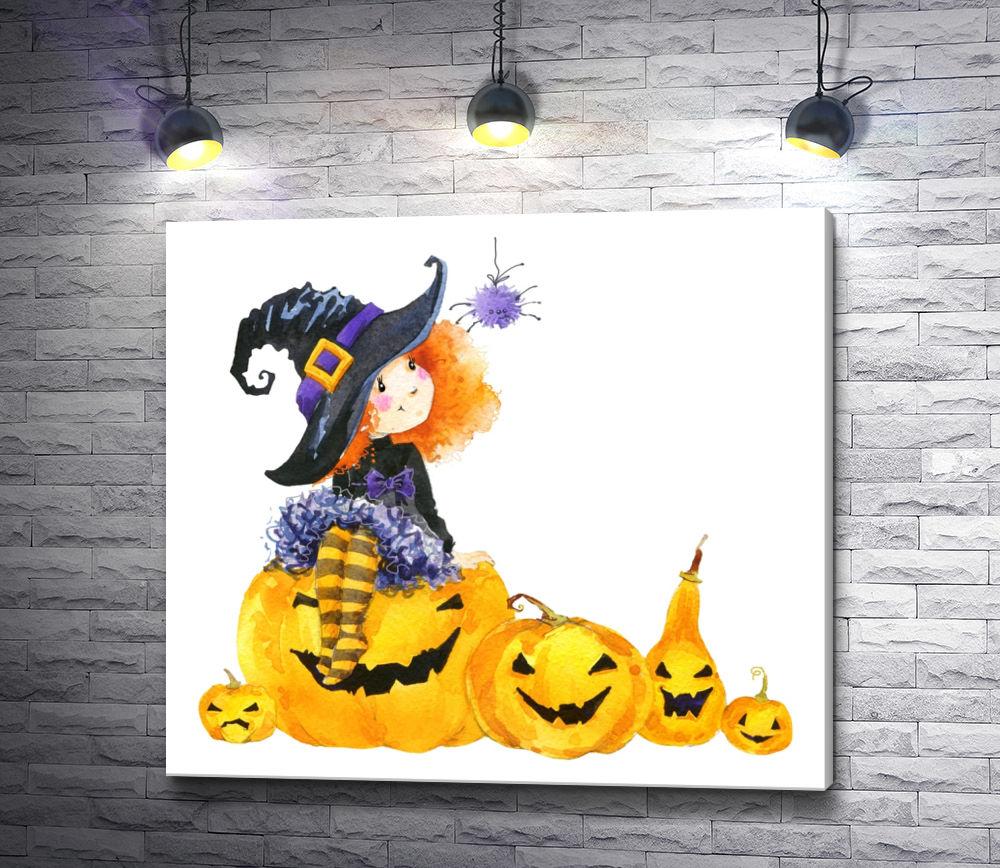"""Картина """"Маленькая ведьма на хэллоуин"""""""