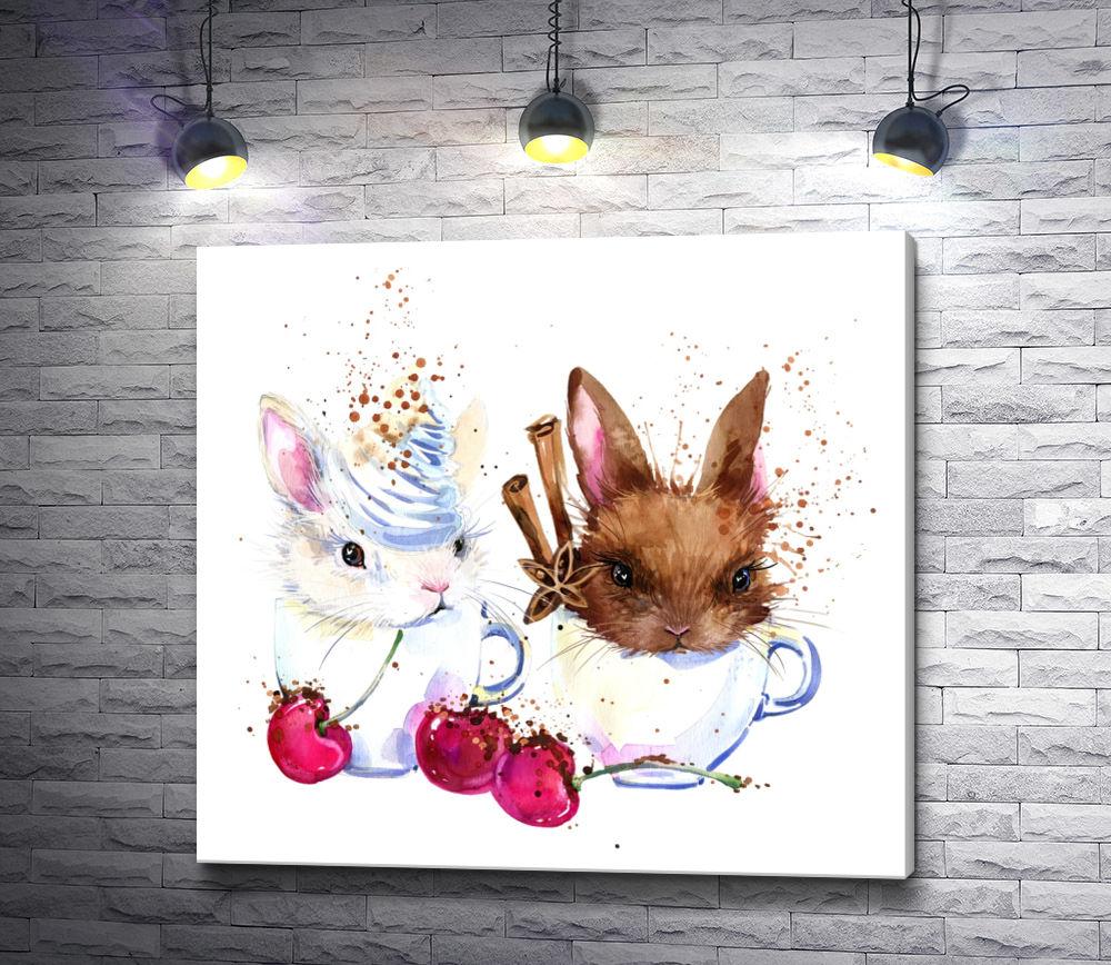 """Картина """"Два кролика с вишнями и корицей"""""""