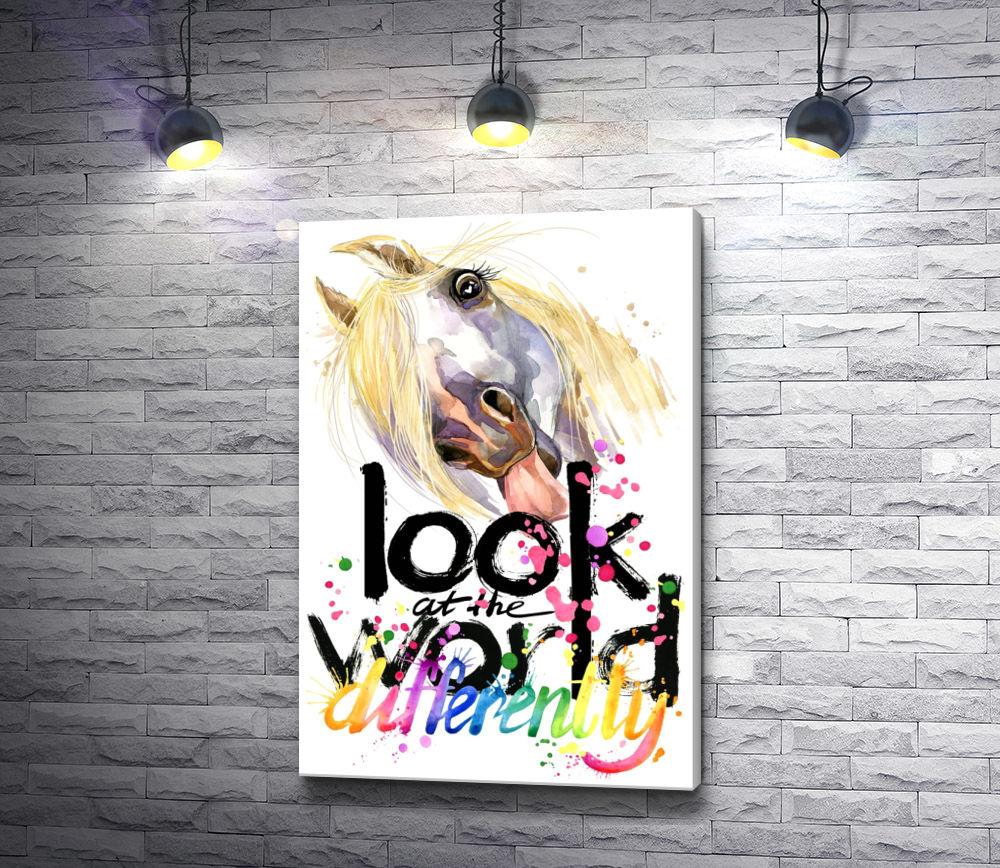 "Картина ""Белая лошадь и текст ""Look at the world"""""