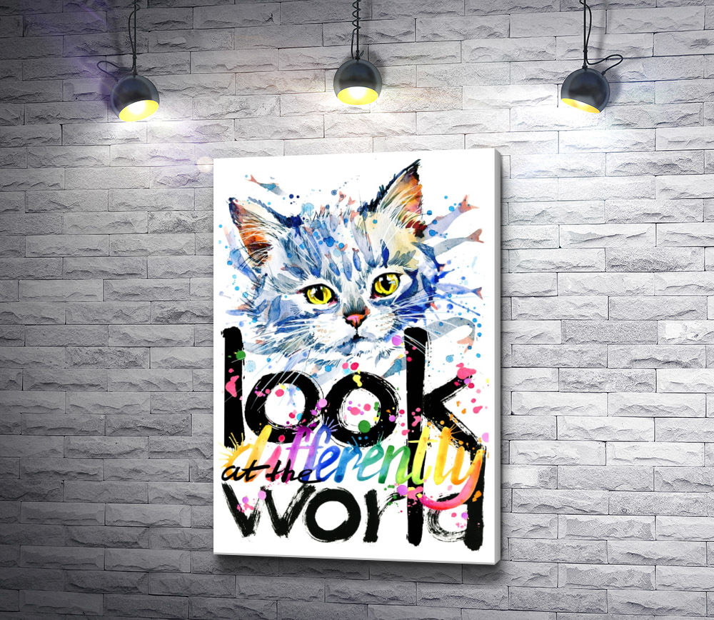 "Картина ""Котенок и текст ""Look at the world"""""