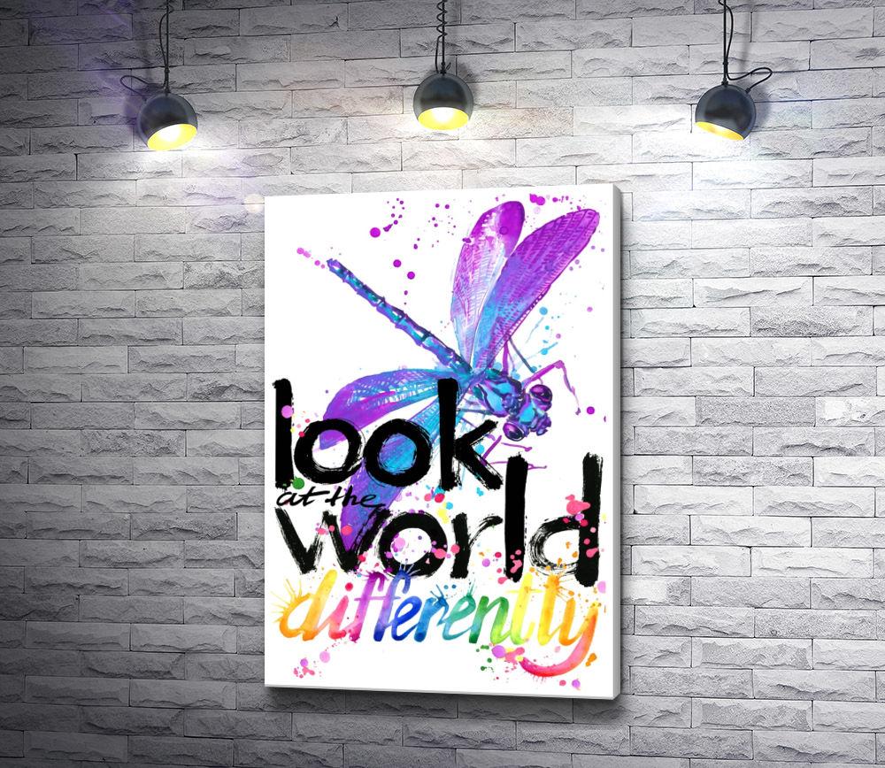"Картина ""Стрекоза и текст ""Look at the world"""""