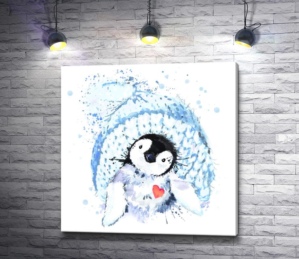 """Картина """"Пингвин в зимней шапке и с сердечком"""""""