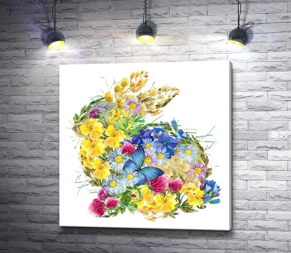 """Картина """"Кролик из полевых цветов и бабочка"""""""