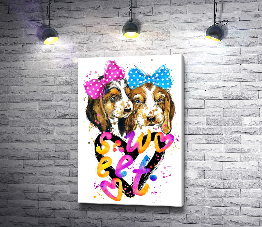 "Картина ""Две собаки подружки с сердцем"""