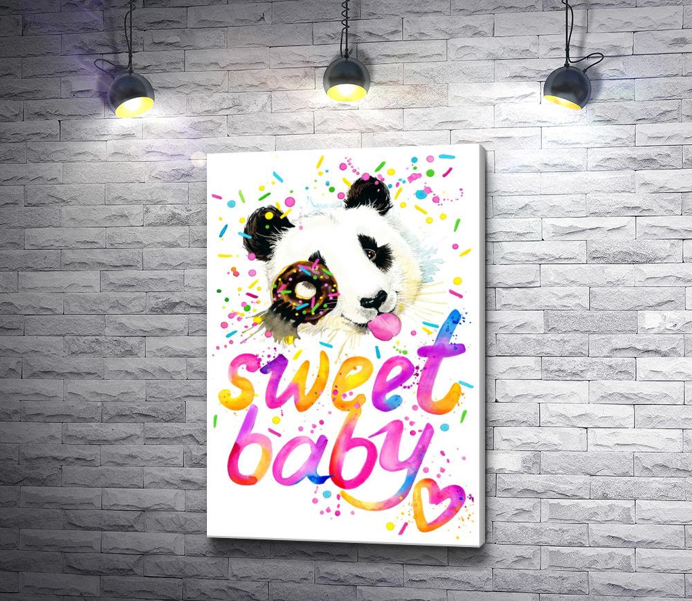 """Картина """"Панда и текст """"Sweet baby"""""""""""