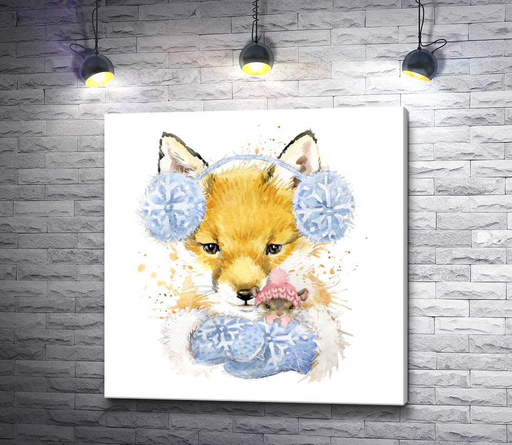 """Картина """"Лисенок в меховых наушниках с мышкой"""""""