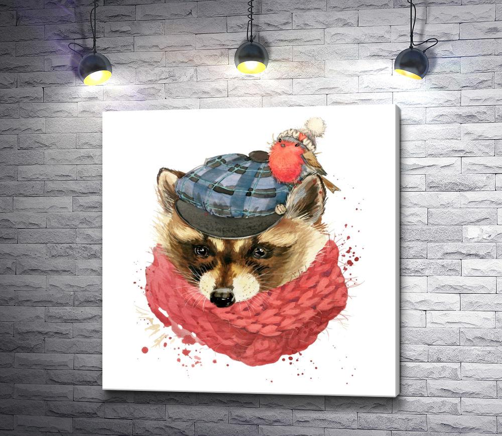 """Картина """"Сыщик-лис в шапке, с шарфом и с птичкой-снегирем"""""""
