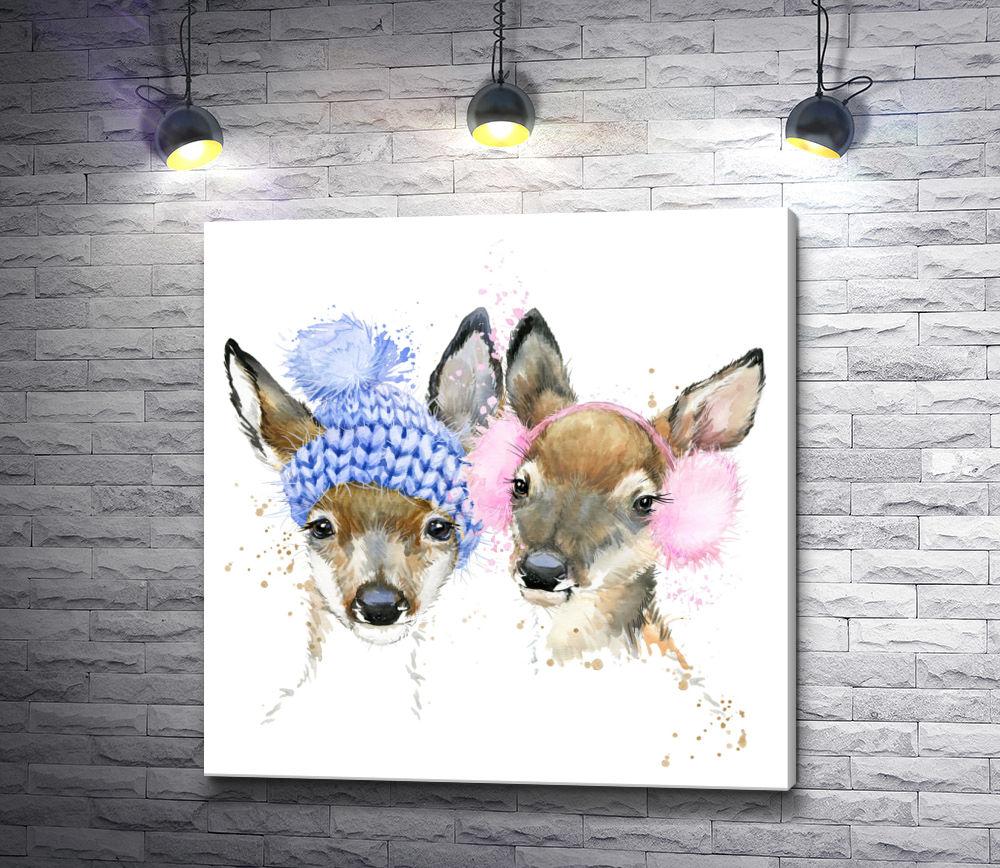 """Картина """"Два оленя в зимних шапках"""""""