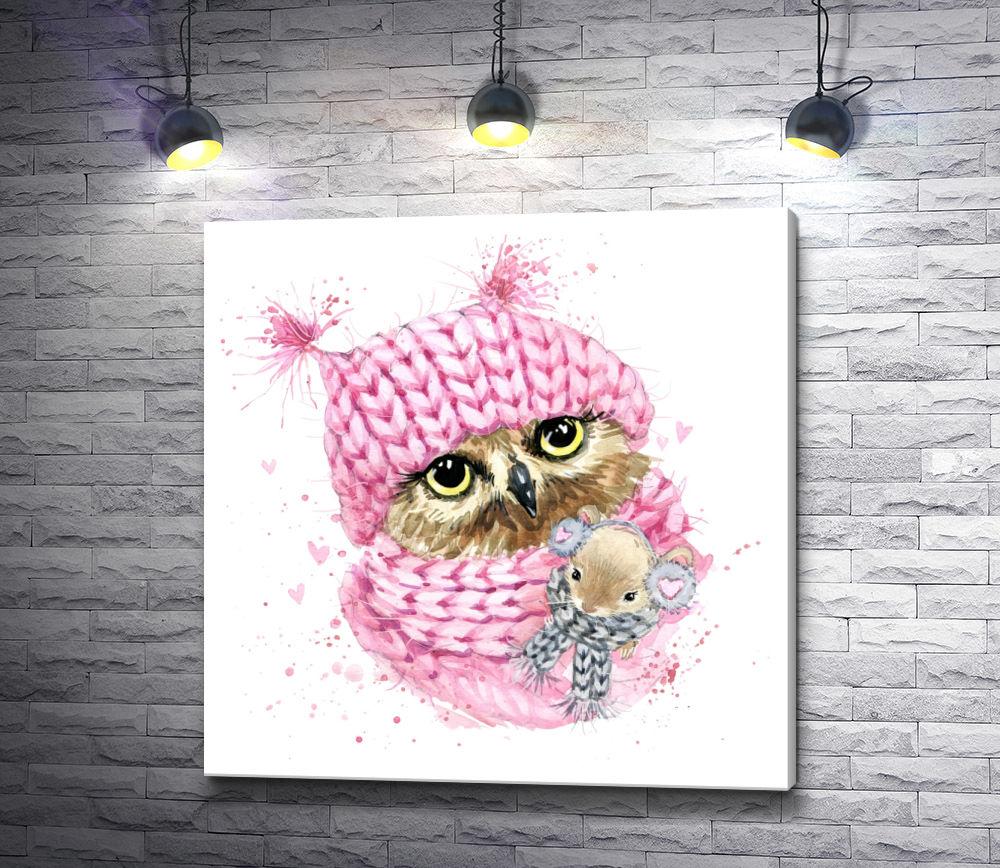 """Картина """"Сова в розовой зимней шапке с мышкой"""""""