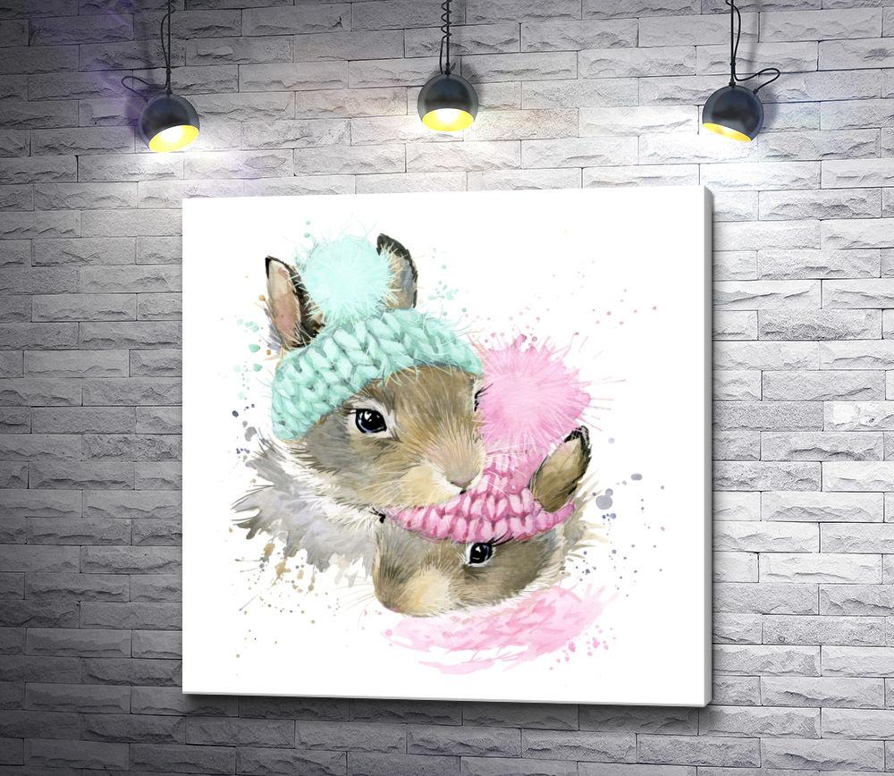 """Картина """"Два кролика в зимних шапках"""""""