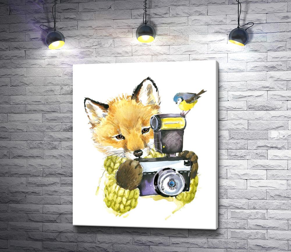 """Картина """"Лиса с фотоаппаратом и птичкой"""""""