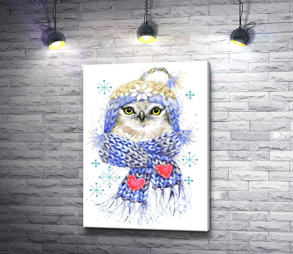 """Картина """"Сова в шарфе с сердечками"""""""