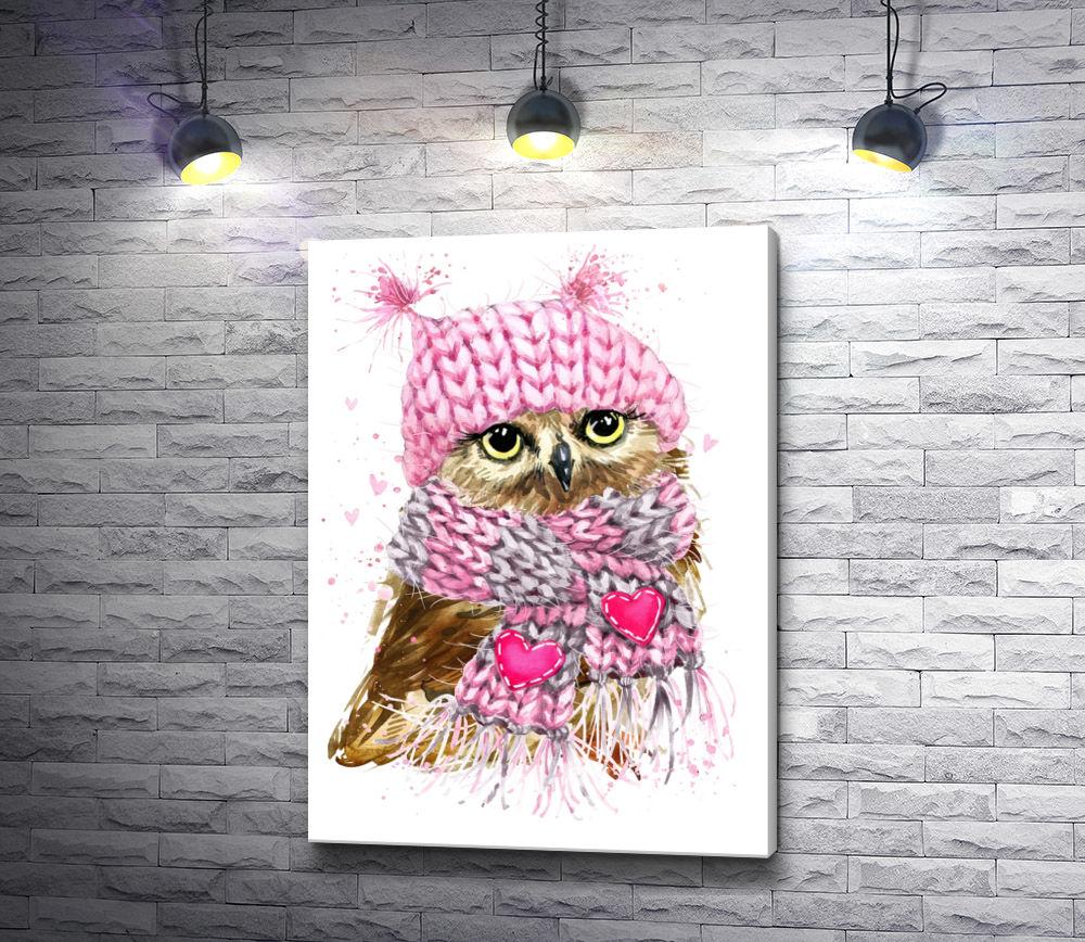 "Картина ""Сова в шапке и шарфе с сердечками"""