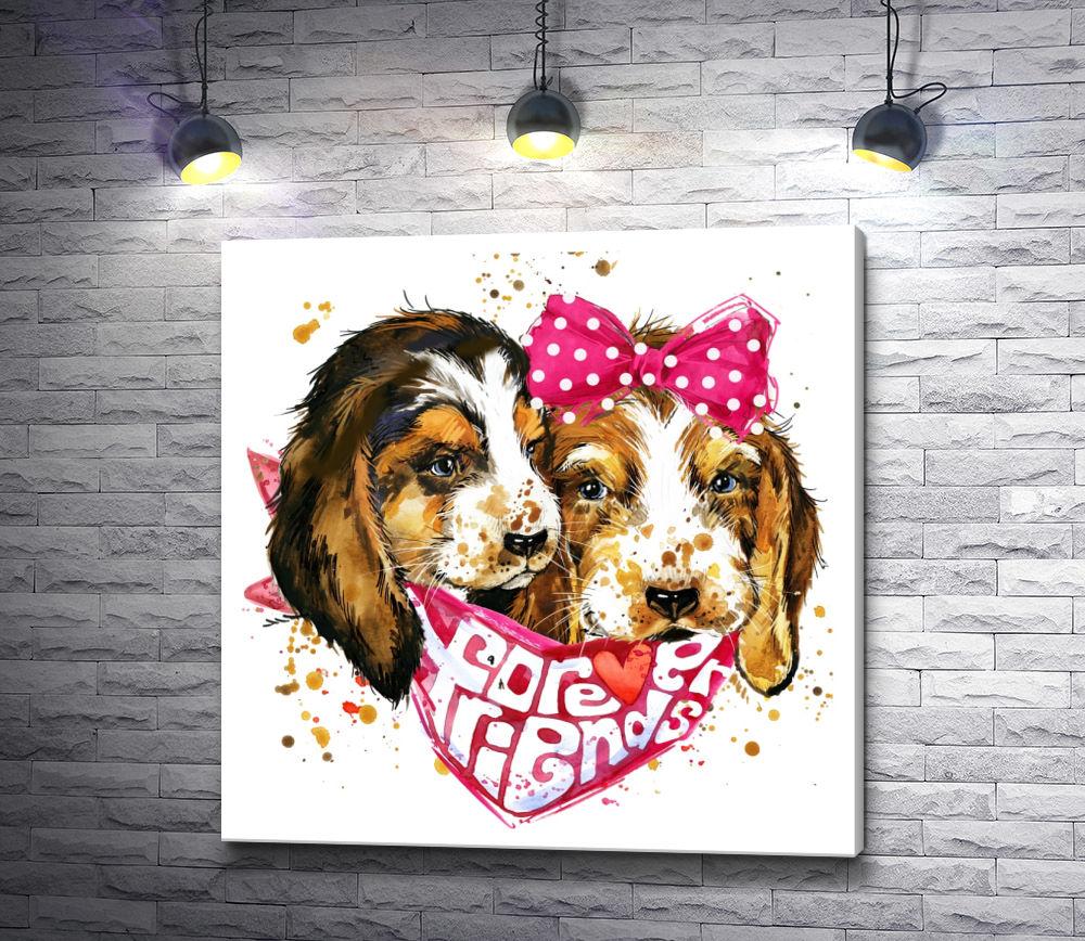 """Картина """"Два щенка с бантом и платком"""""""
