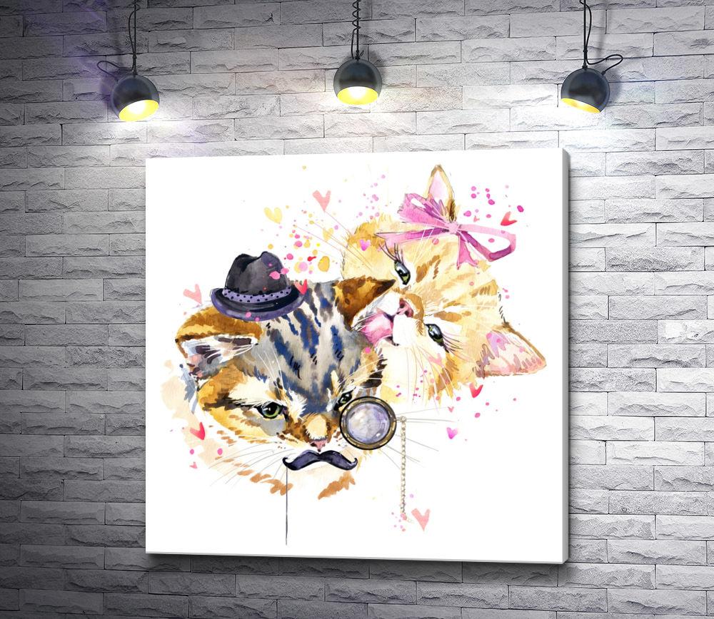 """Картина """"Кот в шляпе и кошечка с бантом"""""""