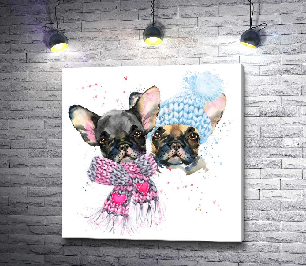 """Картина """"Два щенка в шапке и шарфе"""""""