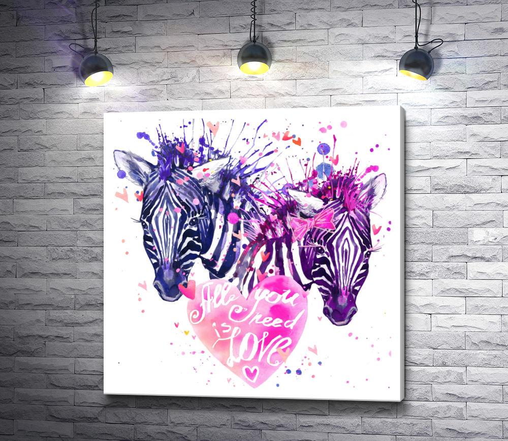 """Картина """"Две зебры и сердце"""""""