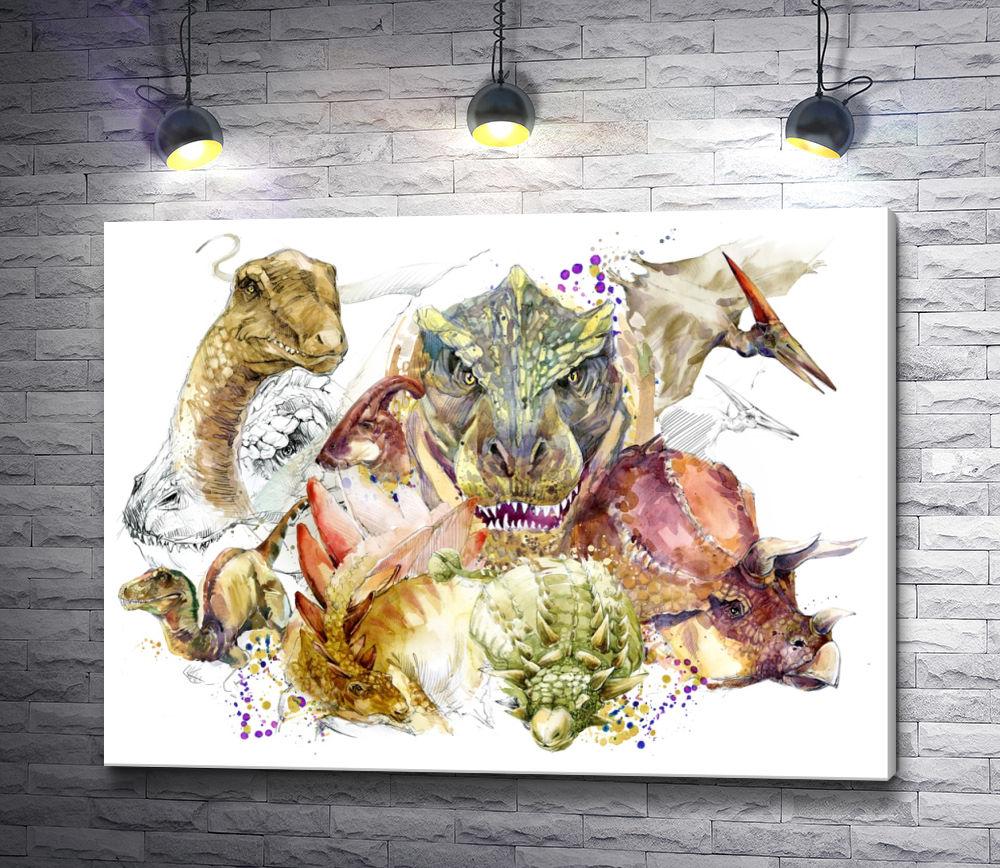 """Картина """"Динозавры и птеродактиль"""""""