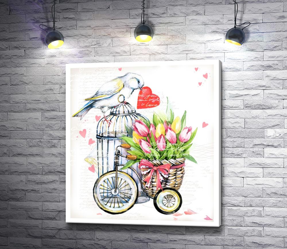 """Картина """"Птица с сердцем и велосипед с тюльпанами"""""""