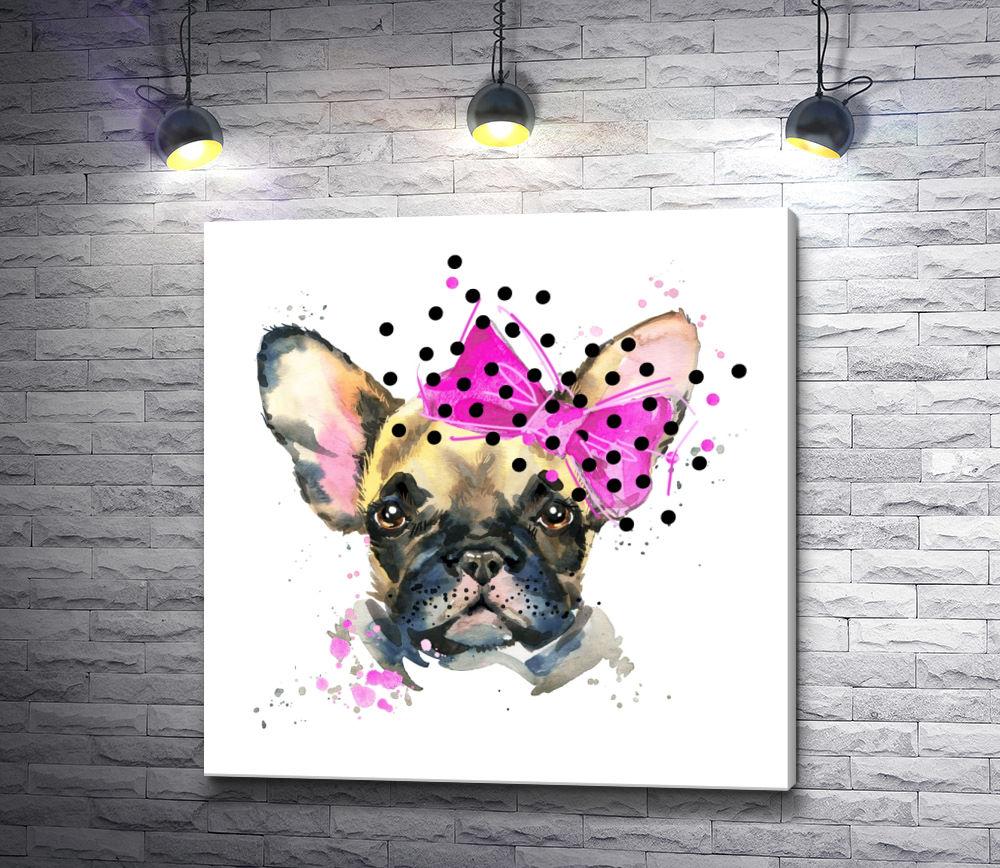 """Картина """"Щенок бульдога с розовым бантом"""""""
