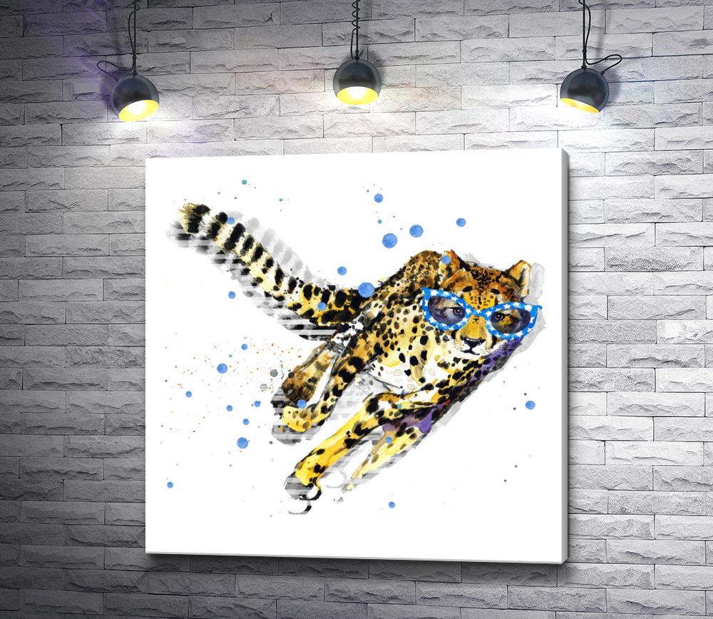 """Картина """"Бегущий гепард в синих очках"""""""