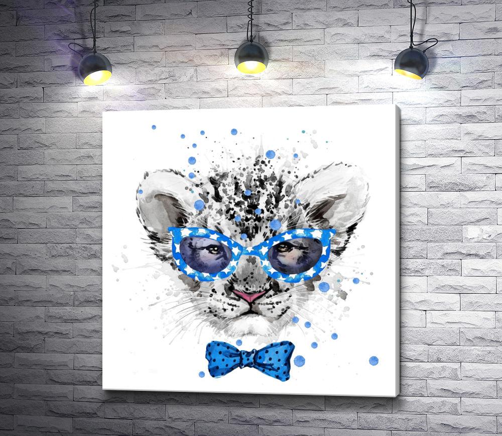 """Картина """"Львенок с голубой бабочкой и в очках"""""""