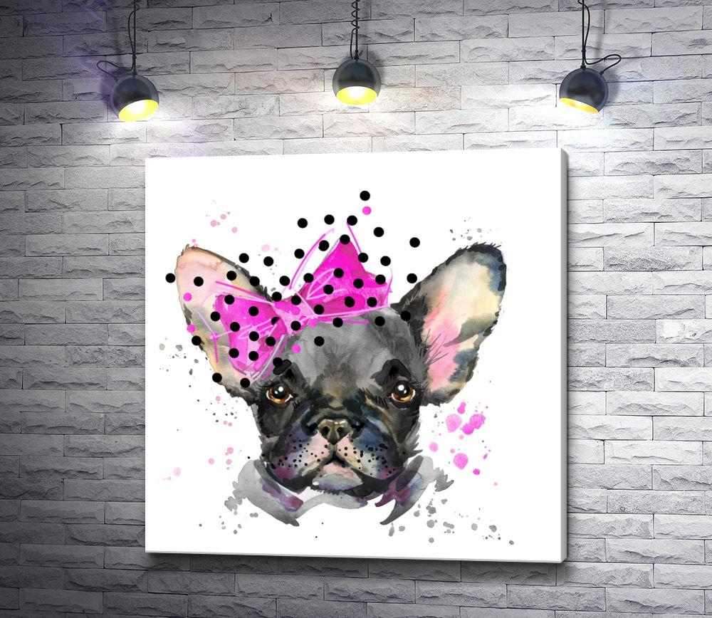"""Картина """"Бульдог с большим розовым бантом"""""""