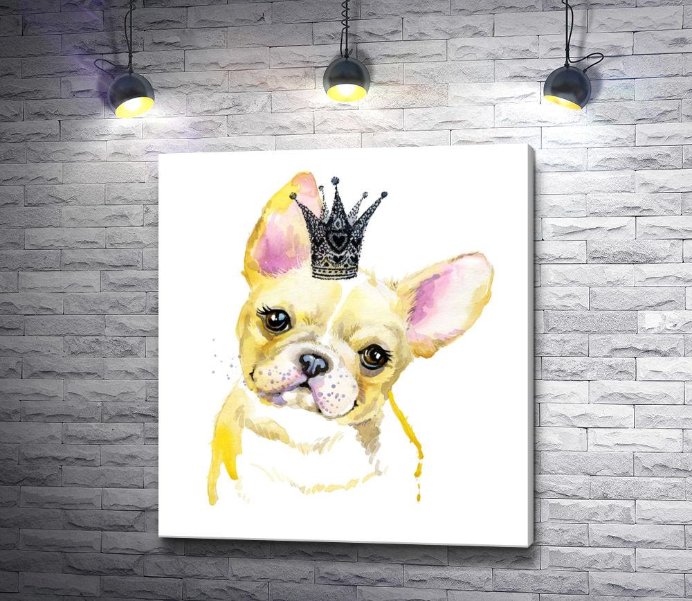 """Картина """"Щенок бульдога с короной"""""""