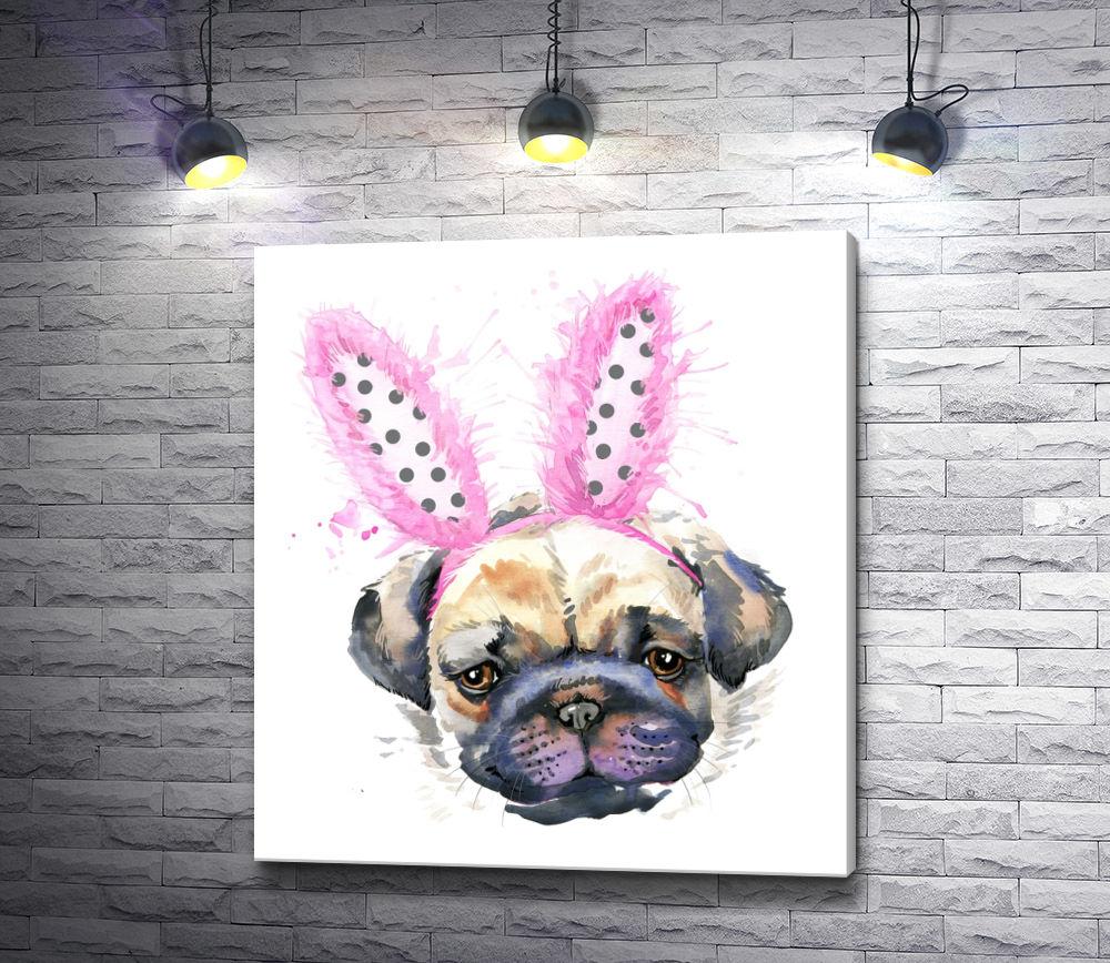 "Картина ""Мопс с розовыми заячьими ушками"""