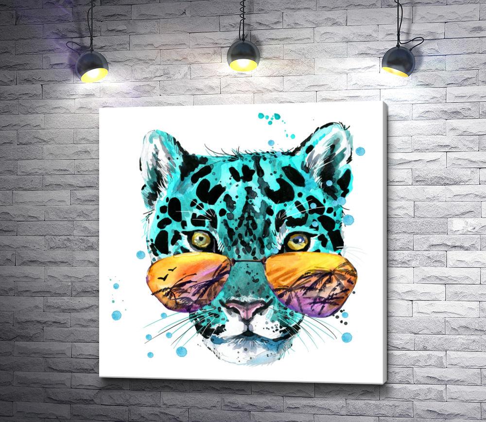 """Картина """"Бирюзовый леопард в зеркальных очках"""""""