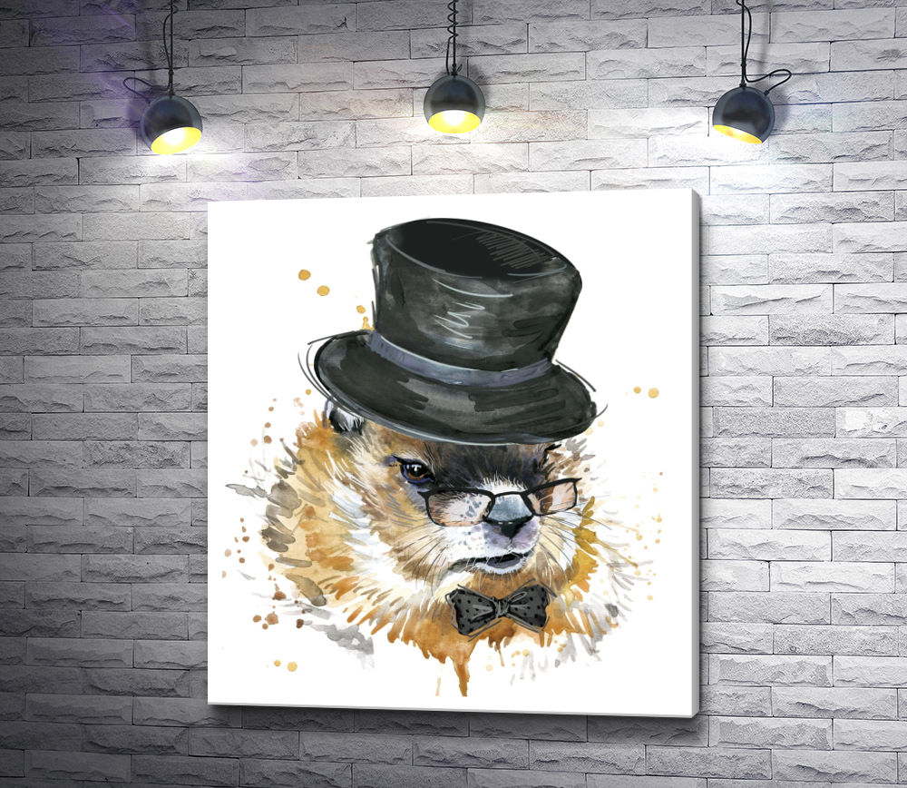 """Картина """"Серьезный кролик в цилиндре и очках"""""""