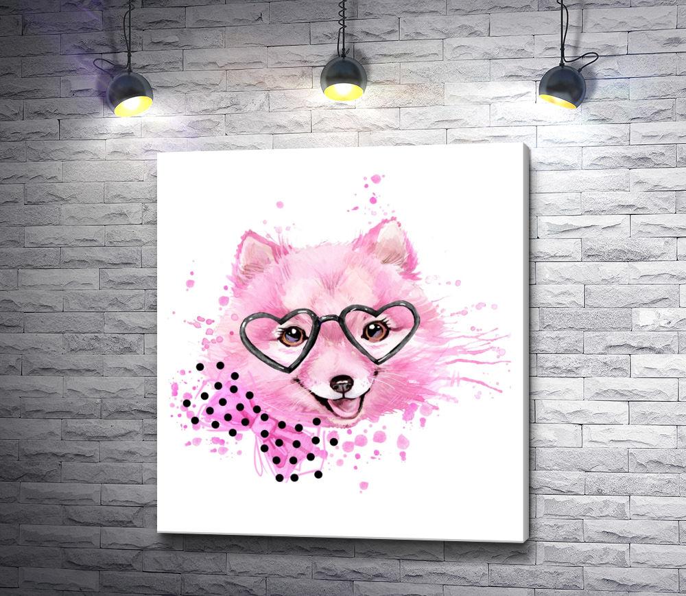 """Картина """"Розовый пушистый пес в очках и с бантом"""""""